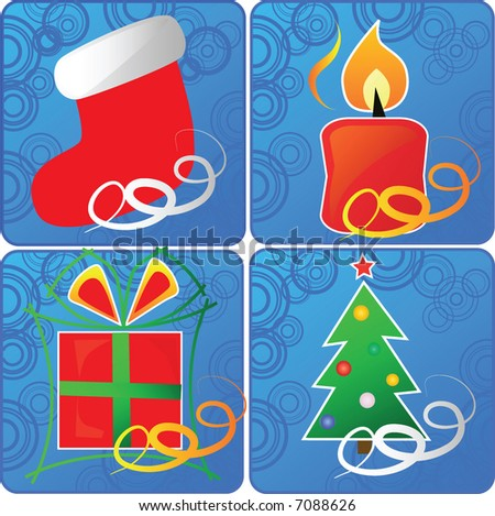 set of 4 christmas icons,vector - stock vector