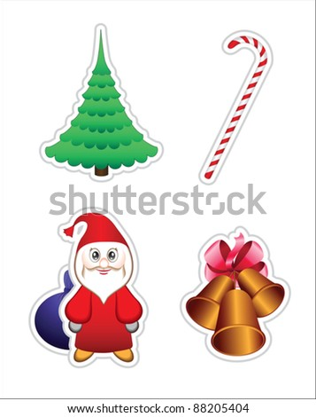 Set of Christmas icons, vector elements for  design