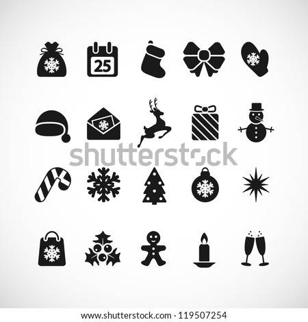 Set of Christmas icons. Vector illustration.