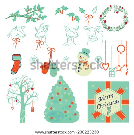 Set of Christmas illustration, symbols, icons, vector  - stock vector