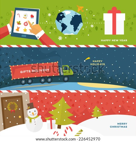 Set of Christmas Illustrations. Delivery Truck with Gifts. Shipping Xmas Gifts Concept. Online Holiday Shopping. Snowman, Christmas Tree, Snow Globe, Mittens and other Holiday Icons. Winter Landscape. - stock vector