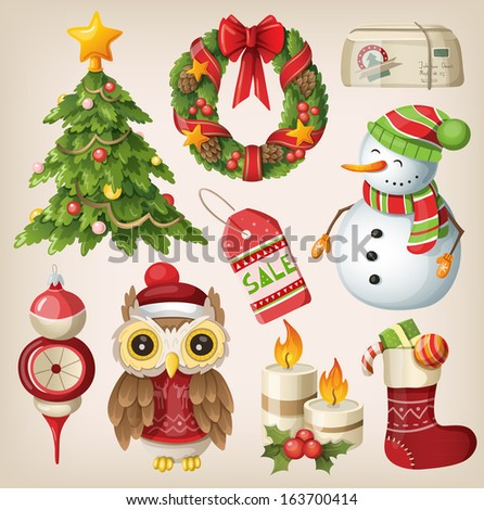 Set of christmas items and characters - stock vector