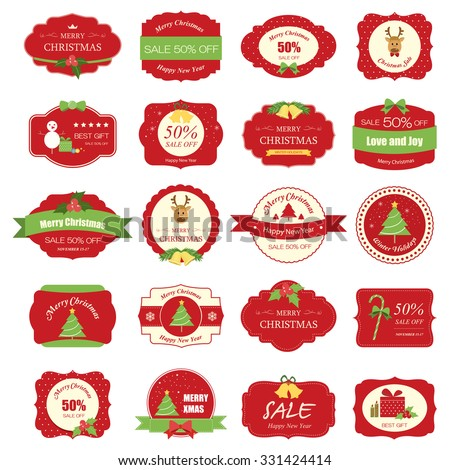 Set of christmas label and background.christmas tag. sign and symbol - stock vector