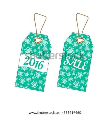Set of Christmas labels tags with cyan background from snowflakes. Element for your Christmas designs, projects, promotional sales and other your projects - stock vector