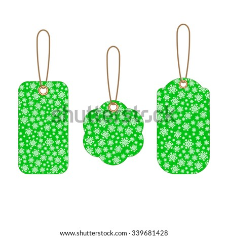 Set of Christmas labels with green background from snowflakes. Element for your Christmas designs, projects, promotional sales and other your projects. Just write your text.