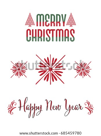 set of Christmas lettering and design elements