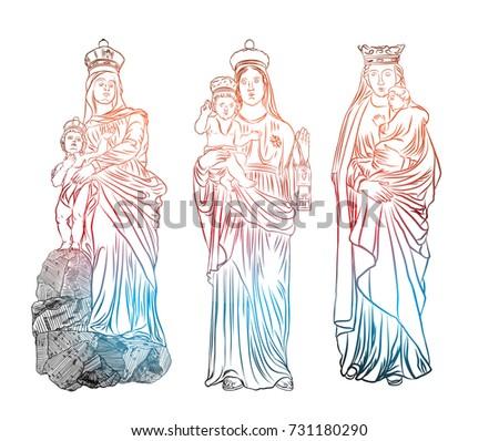 set christmas nativity scene virgin mary stock vector royalty free