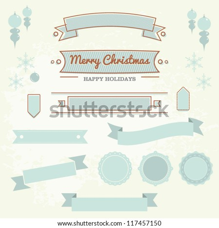 Set of christmas ornaments and decorative elements, vintage frames, labels, stickers - stock vector