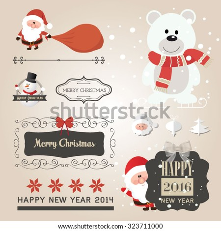 Set of Christmas ornaments and decorative elements, vintage frames, labels, stickers. Christmas element. Vintage Santa Claus and friends - stock vector