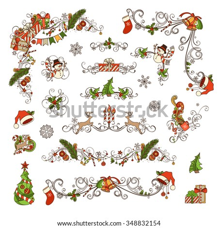 Set of Christmas ornate page decorations and dividers. Christmas baubles, gifts, snowmen, bells and ribbons, candy canes, garland, Santa socks and hats, holly berries and candles, music notes.  - stock vector