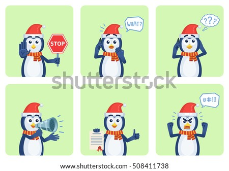 Set of Christmas penguin characters posing in different situations. Cheerful penguin holding stop sign, loudspeaker, document, talking on phone, surprised, thinking, angry. Vector illustration