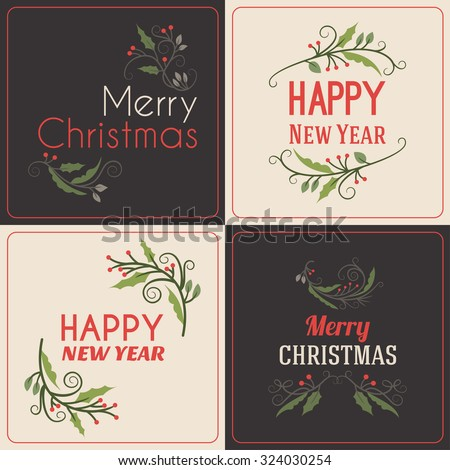 Set of Christmas Postcard Decorative Greetings with Mistletoe Branch, Berries and Typographic Design Elements. Hand Drawn Vector Illustration - stock vector