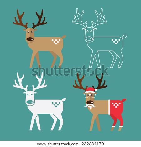 Set of Christmas Reindeer in flat design. Vector. Illustration.  - stock vector