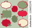 Set of Christmas retro labels with an empty seat for your text - stock vector
