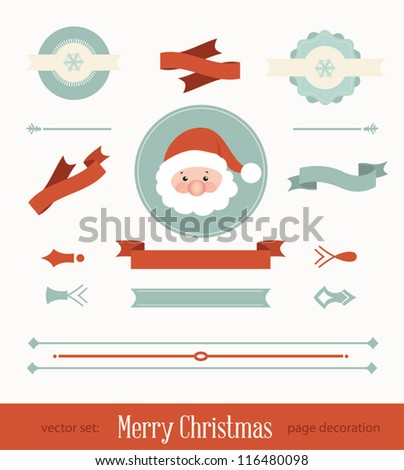 Set of christmas ribbon and decorative elements, vintage frames, labels, stickers, ornaments. Vector Christmas element - stock vector