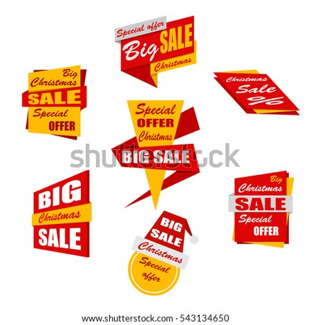 Set of christmas sale banners. Red and yellow discount posters. Special offer. Vector, eps10