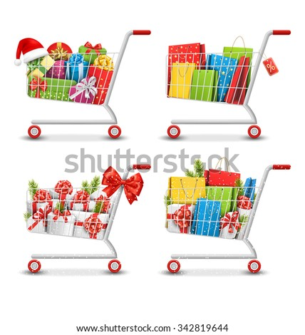 Set of Christmas Sale Colorful Shopping Carts with Gift Boxes and Bags Isolated on White Background - stock vector