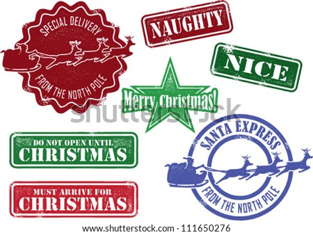 Set of Christmas Santa Stamps