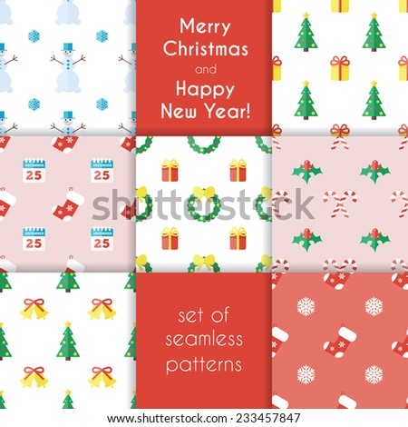 Set of Christmas seamless backgrounds in flat style. Vector illustration