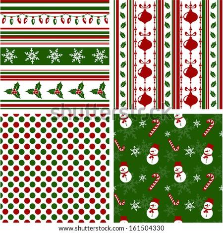 Set of christmas seamless patterns. Vector illustration. - stock vector