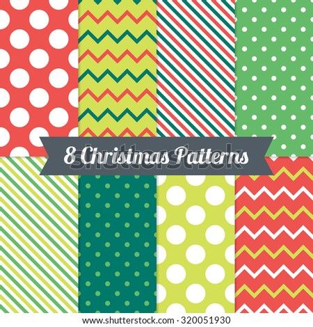 Set of Christmas Seamless Patterns with Polka Dot, Chevron and Diagonal Lines in Red, Green and White. Perfect for wallpapers, pattern fills, background, textile, Christmas and New Year greeting cards - stock vector