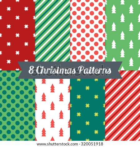 Set of Christmas Seamless Patterns with Polka Dot, Diagonal Lines, Snowflakes and Fir Trees in Red, Green and White. Perfect for wallpapers, pattern fills, textile, Christmas and New Year cards - stock vector