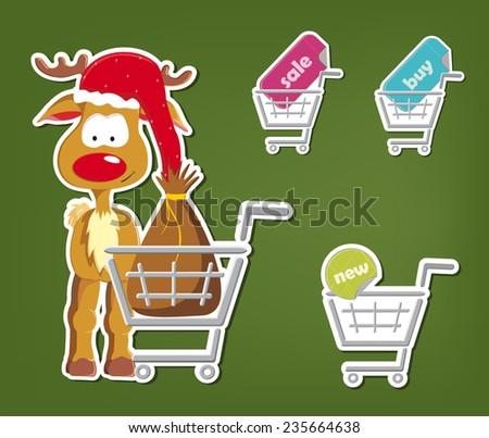 Set of christmas shopping cart - x mas reindeer with bag, sale, buy, new - stock vector