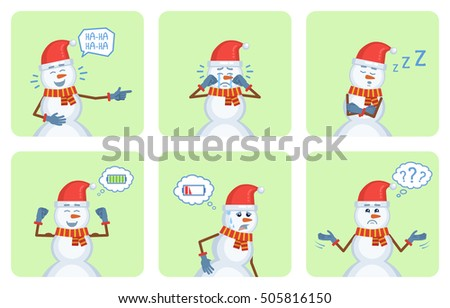 Set of Christmas snowman characters posing in different situations. Cheerful snowman laughing, crying, sleeping, thinking, tired, full of energy. Flat style vector illustration