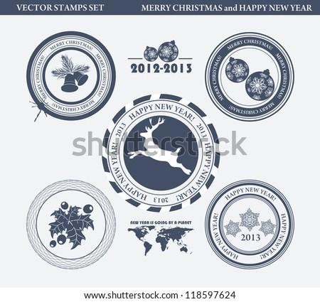 set of Christmas stamp - stock vector