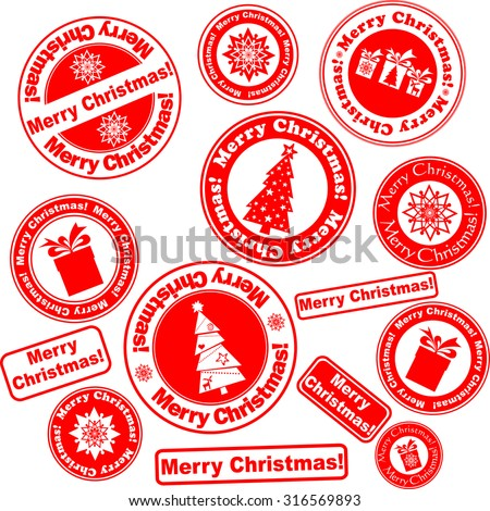 Set of Christmas stamps isolated on White background. illustration
