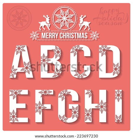 Set of Christmas stylized alphabet with snowflakes. Vector A, B, C, D, E, F, G, H, I. - stock vector