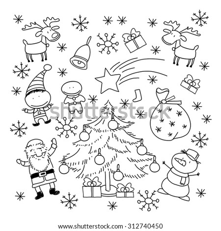 Set of Christmas symbols and elements, black and white - stock vector