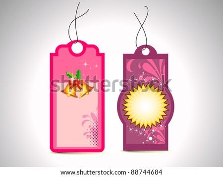 set of Christmas theme concept colorful blank tags - stock vector