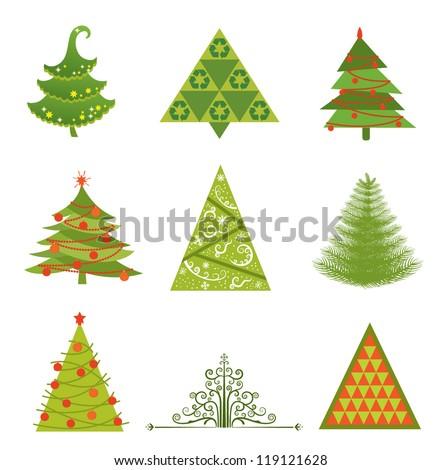 Set of 9 Christmas tree designs - stock vector