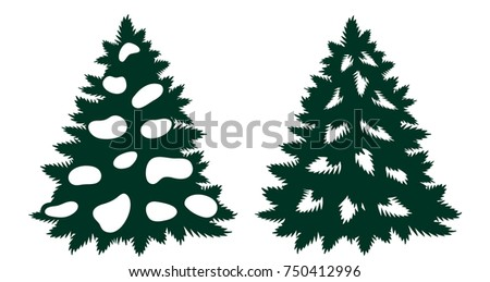 set christmas tree silhouette cutout paper stock vector 750412996