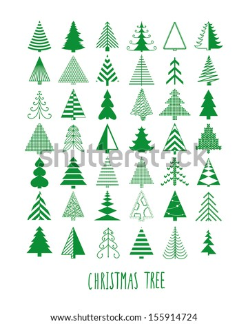 set of 42 Christmas trees - stock vector