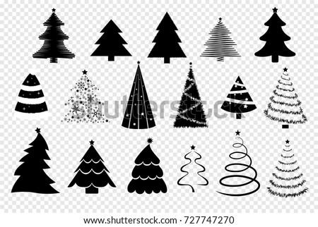 Set Of Christmas Trees Displayed On A Transparent Background Collection Vector Decoration Elements