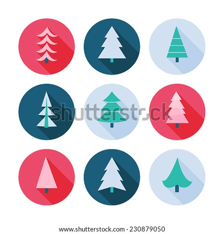 Set of Christmas trees icons. Vector illustration. - stock vector