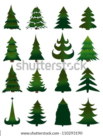 Set of Christmas trees vector - stock vector