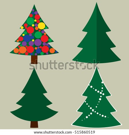 Set Christmas Trees Without Ornaments Modern Stock Vector ...