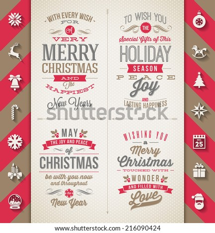 Set of Christmas type designs and flat icons with long shadow - vector holidays illustration - stock vector