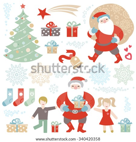 Set of Christmas vector elements, winter holidays icons collection. Funny Santa Claus with bag of gifts, Christmas tree, happy kids, snowflakes. New Year's decor for design template. - stock vector