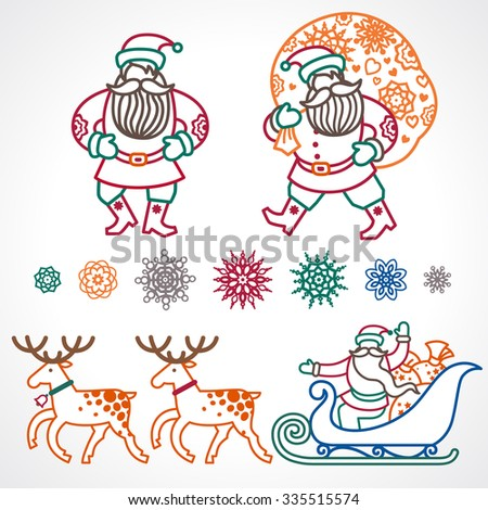 Set of christmas vector elements, winter holidays icons collection. Santa Claus in sleigh, Christmas tree, snowflakes. Decor for brochures, magazines, leaflets, best wishes greeting card. - stock vector