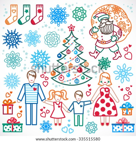 Set of christmas vector elements, winter holidays icons collection. Santa Claus with a bag of gifts, Christmas tree, happy family. Decor for brochures, magazines, leaflets, best wishes greeting card. - stock vector