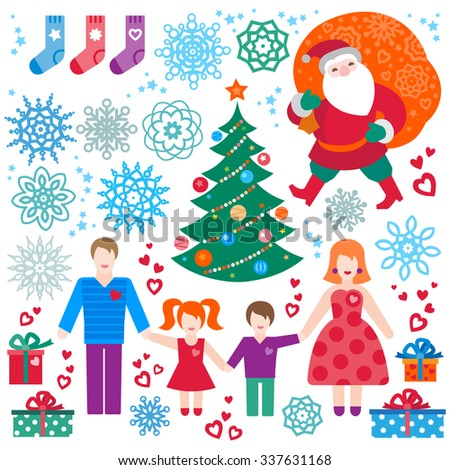 Set of christmas vector elements, winter holidays icons collection. Santa Claus with bag of gifts, Christmas tree, happy family. New Year's decor for brochures, magazines, leaflets, best wishes card. - stock vector