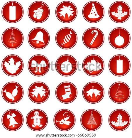 Set of Christmas web button isolated on white vector - stock vector
