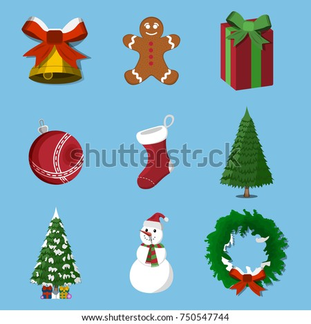 Set of 9 Christmas, XMas icon. Cartoon style. Vector Illustration for Christmas day