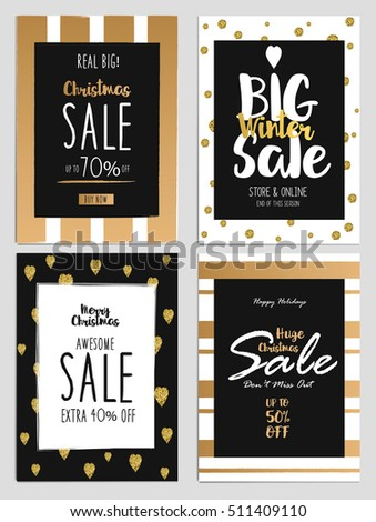 Set of Chritmas Sale Flyer Template for websites and mobile websites. Can be used For Posters, Web Banners, promotion materials. Vector Illustration