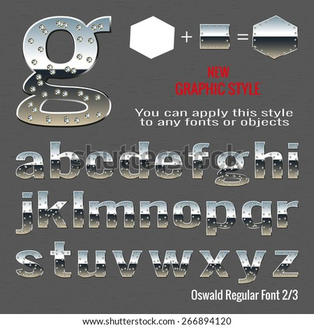 Set of chrome letters with diamonds and chrome graphic style with diamonds. You can apply this style to any fonts and objects, vector. EPS 10. - stock vector