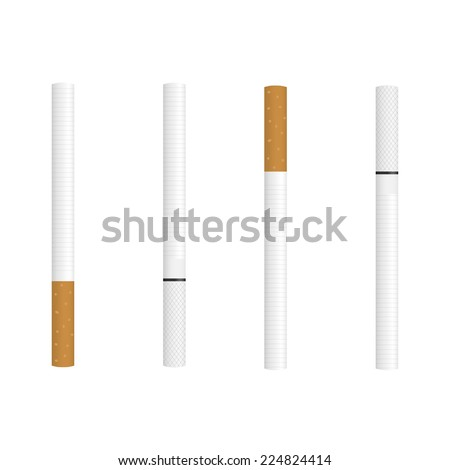 Set of Cigarette isolated on a white background - stock vector